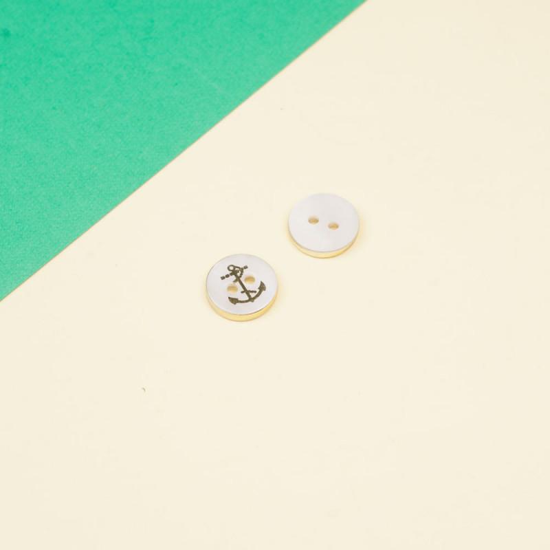 Bouton nacre blanc et or motif ancre 11 mm  - pretty mercerie - mercerie en ligne