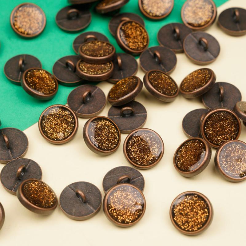 Bouton métal cuivre antique et paillettes 15 mm  - pretty mercerie - mercerie en ligne