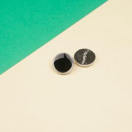 Bouton métal argent et résine noir 15 mm  - pretty mercerie - mercerie en ligne