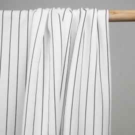 Tissu tencel sergé blanc à motif rayures noir  - pretty mercerie - mercerie en ligne