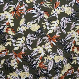 Tissu crêpe vert avocat motif feuillage lilas jaune sunshine noir et rust  - pretty mercerie - mercerie en ligne