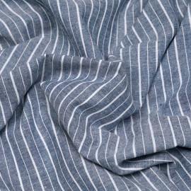 Tissu coton bleu et rayures blanches x 10cm
