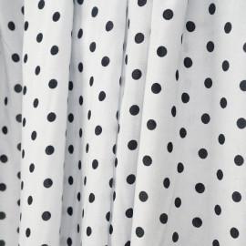 Tissu viscose blanc à motif pois noir  - pretty mercerie - mercerie en ligne