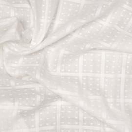 Tissu coton blanc cassé plumetis et carreaux tissés x 10cm
