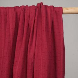 Tissu coton plumetis et bandes brodées rouge tango  - pretty mercerie - mercerie en ligne