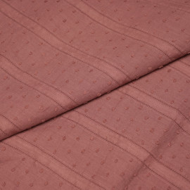 Tissu coton plumetis et bandes brodées rose vieilli x 10cm
