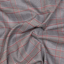 Tissu Prince de Galles noir et blanc et rouge et noisette x 10 cm