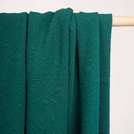 Tissu matelassé vert émeraude motif déstructuré - mercerie en ligne - pretty mercerie