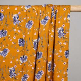 Tissu viscose golden oak à fleurs bleu et rose x 10 cm