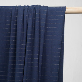 Tissu maillot de bain bleu estate rayé lurex argent - pretty mercerie - mercerie en ligne