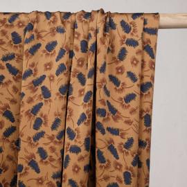Tissu crêpe satiné cashew motif abstrait bleu et cinnamon  - pretty mercerie - mercerie en ligne